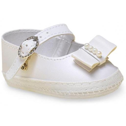 Sapato Batizado Feminino com Laço e Pérola 17650 - Pimpolho