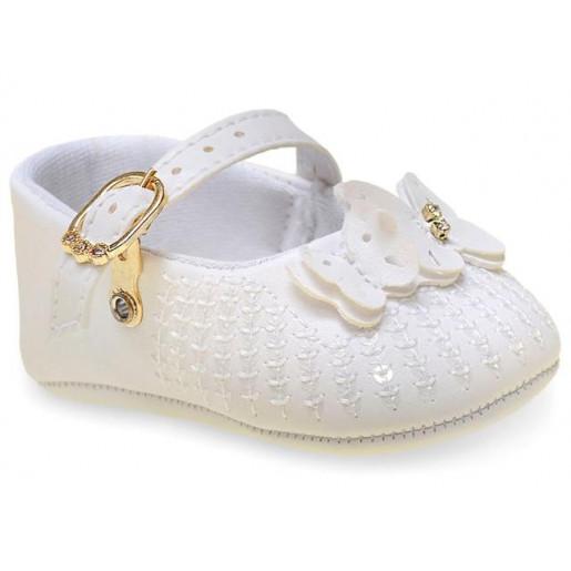 Sapato Batizado Feminino com Laço, Pérola e Strass 17654 - Pimpolho