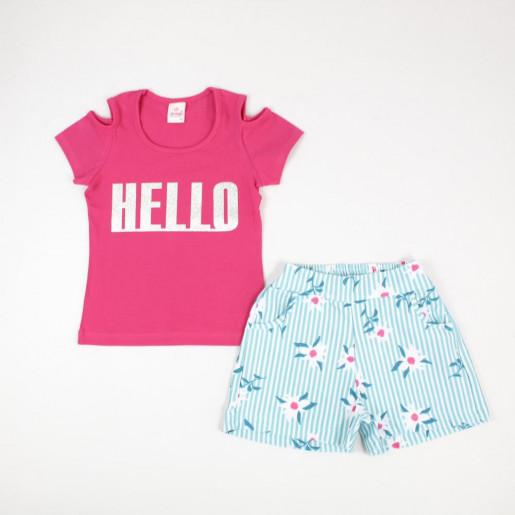 Conjunto Feminino Blusa Estampada Hello e Shorts 13219 - Abrange