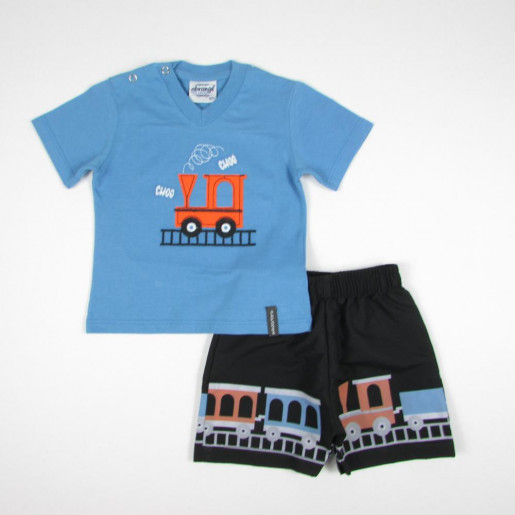 Conjunto Masculino Camiseta Bordada Trem e BermudaTactel 8837 - Abrange