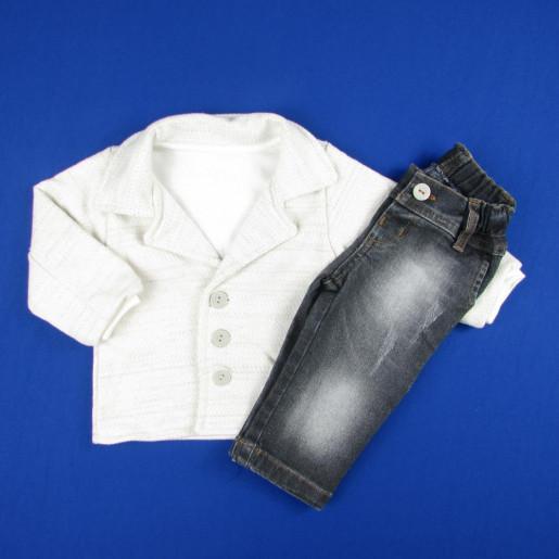 Conjunto Masculino Casaco Aberto e Calça Jeans 283085 - Aconchego do Bebê