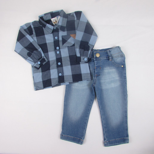 Conjunto com Camisa Xadrez Masculino 283026- Aconchego do Bebê