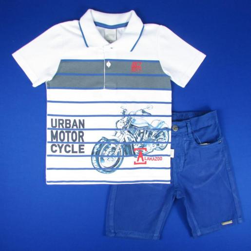 Conjunto Masculino Polo Listrada com Estampa Motocycle e Bermuda Sarja 33782 - Alakazoo