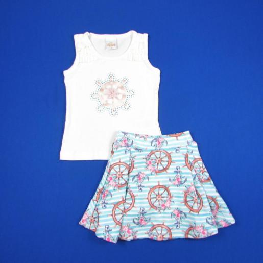 Conjunto Feminino Blusa Estampada Ancoras com Strass e Saia 18641 - Alekids