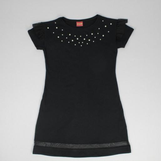 Vestido Moletinho com Tule e Pérolas 51189 - Amora