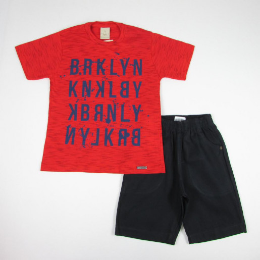 Conjunto Masculino Camiseta Estampada Brklyn e Bermuda Sarja 8643 - Angerô
