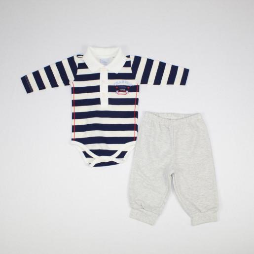 Conjunto Longo Masculino Polo Listrada e Mijão 19117 - Baby Fashion
