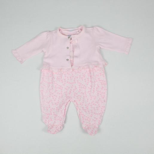 Macacão Suedine Longo com aplique Coração Bordado e Casaco 30016 - Baby Fashion