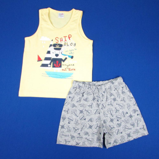 Pijama Masculino Curto Estampado Marinheiro 424 - Baby Fashion