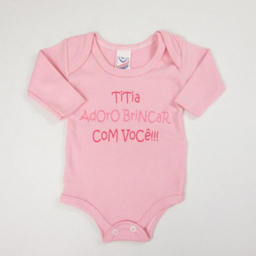 Body Manga Longa com Frase Titia 1281 - Babynha