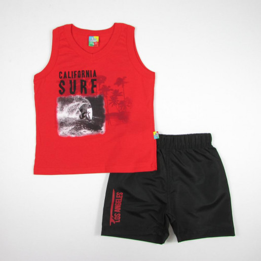 Conjunto Masculino Regata Estampada Surf e Bermuda Tactel 13473 - Bee Loop