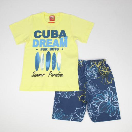 Conjunto Masculino Camiseta Estampada Cuba Dream e Bermuda Tactel 70495 - Benetex