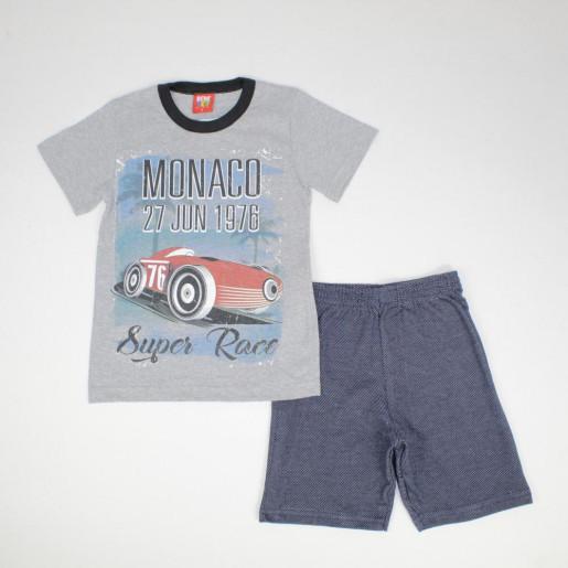 Conjunto Masculino Camiseta Estampada Monaco e Bermuda Moletinho 70496 - Benetex