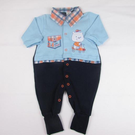 Macacão Suedine Masculino 2937 Xadrez - Bloomy´s Baby