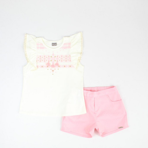 Conjunto Feminino Blusa Estampada e Shorts Jacquard 24017 - Brandili Mundi