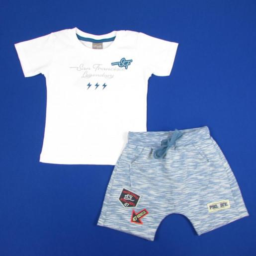 Conjunto Masculino Camiseta com Bordado e Bermuda Moletinho 33345 - Brandili Mundi
