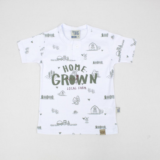 Camiseta Manga Curta Estampada com Botões 6046 - Brincar é Arte