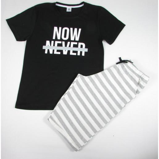 Conjunto Masculino Camiseta Estampada Now e Bermuda Moletinho 3080 - By Gus