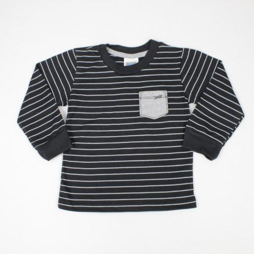 Camiseta Manga Longa Listrada com Bolso 5766 - Duzizo
