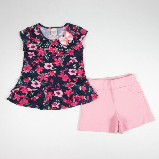 Conjunto Feminino Blusa Estampada Flores e Shorts Tecido 1062 - Carol e Dani