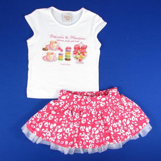 Conjunto Feminino Blusa Estampada com Strass e Saia com Detalhe em Tule Estampada 942 - Carol e Dani