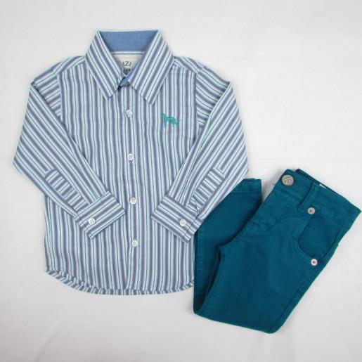 Conjunto Masculino com Camisa Listrada 165208 - Club Z