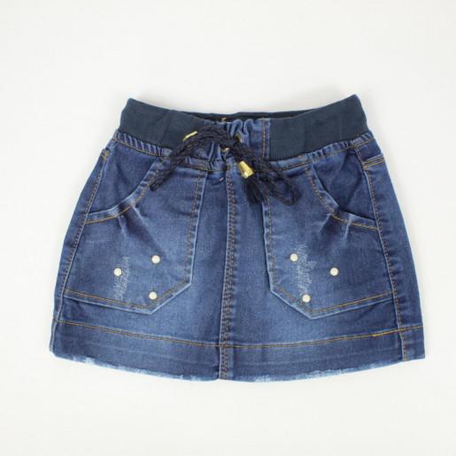 Saia Jeans com Elástico e Bolso 3139 - Clube do Doce