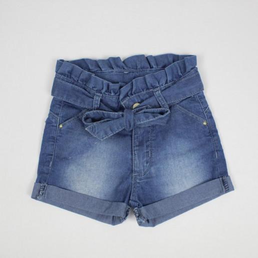 Shorts Jeans Feminino Cós Franzido 3350 - Clube do Doce