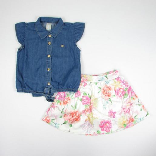 f85a4633a2 Conjunto Feminino Blusa Jeans e Saia Estampada Fundo do Mar 171711 -  Colorittá