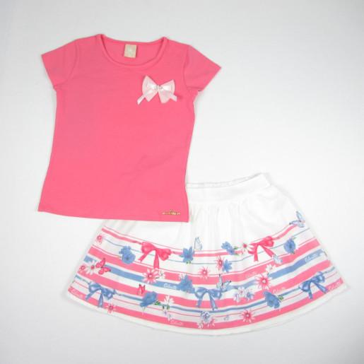 Conjunto Feminino Blusa Detalhe Laço e Saia Estampada Laço 171741 - Colorittá