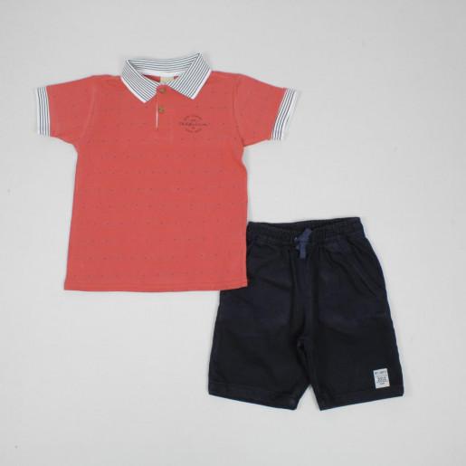 Conjunto Polo Piquet com Listras e Bermuda Sarja 172580 - Colorittá