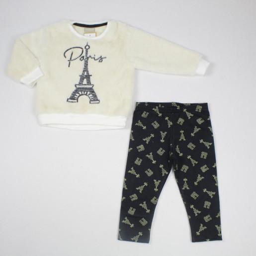 Conjunto Longo Feminino Blusa Aplicação Paetê Paris e Legging Estampada 12155 - Milon
