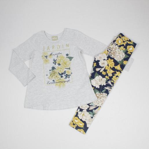 Conjunto Longo Feminino Blusa Estampada Flores com Strass e Legging 12152 - Milon