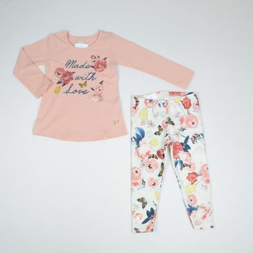 Conjunto Longo Feminino Blusa Estampada Flores com Strass e Legging 172307 - Colorittá