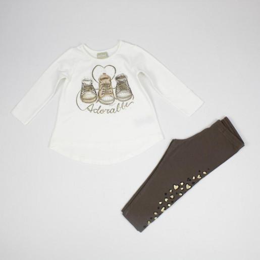 Conjunto Longo Feminino Blusa Estampada Tênis com Strass e Legging 12171 - Milon