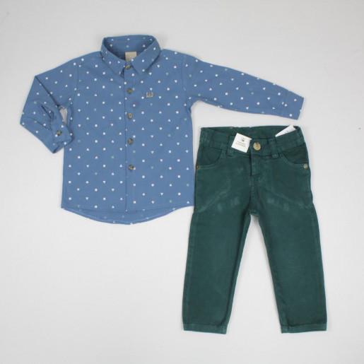 Conjunto Longo Masculino Camisa Estampada E Calça Sarja 172379 - Colorittá