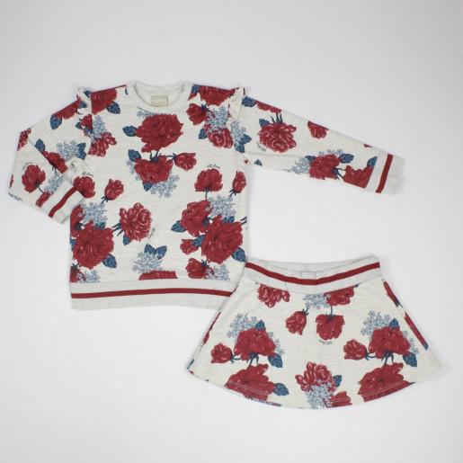 Conjunto Longo Moletinho Feminino Blusa e Saia Estampada Rosas 12184 - Milon