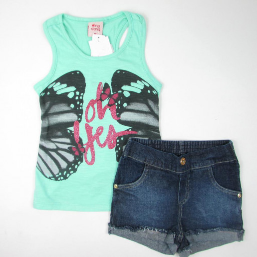 Conjunto Feminino com Shorts Jeans 4526 Borboleta - Ding Dang