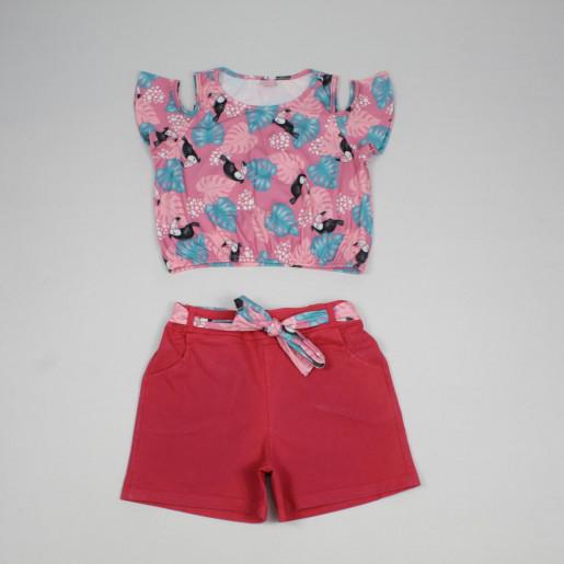 Conjunto Feminino Blusa Estampada Tucano e Shorts Sarja com Cinto 015102249 - Dila