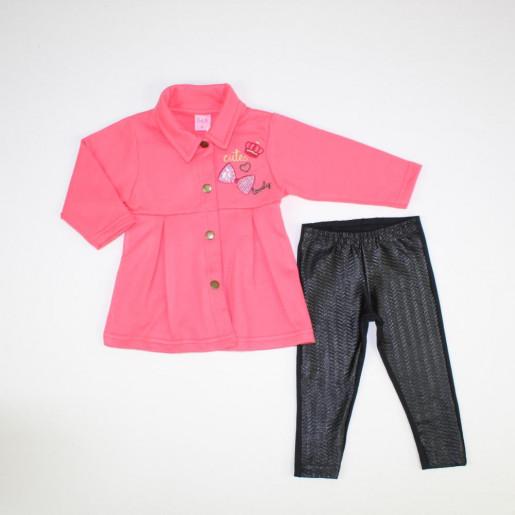 Conjunto Longo Feminino Blusa Bordada e Legging com Cirrê 015601173 - Dila