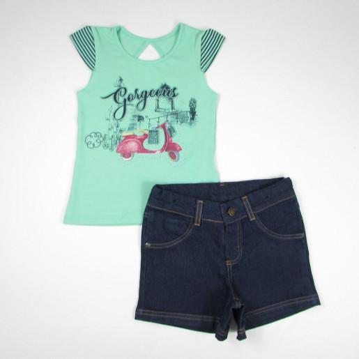 Conjunto Feminino Blusa Estampada Moto com Strass e Bermuda Jeans 56102 -  Ding Dang