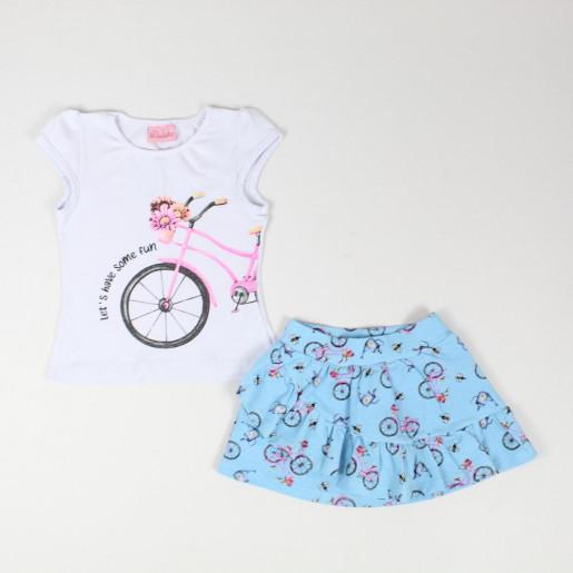 Conjunto Feminino Blusa Estampada Bike e Saia com Babados 1357878 - Duduka