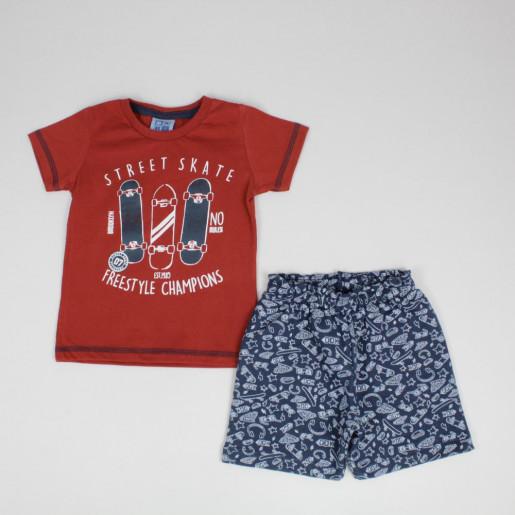 Conjunto Masculino Camiseta Estampada Skate e Bermuda Moletinho 1363561 - Duduka