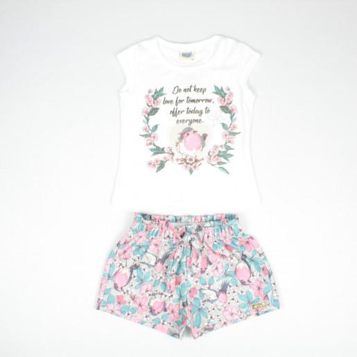 Conjunto Feminino Blusa Crepe Estampada Flores com Strass e Shorts Jacquard 5414 - Duzizo