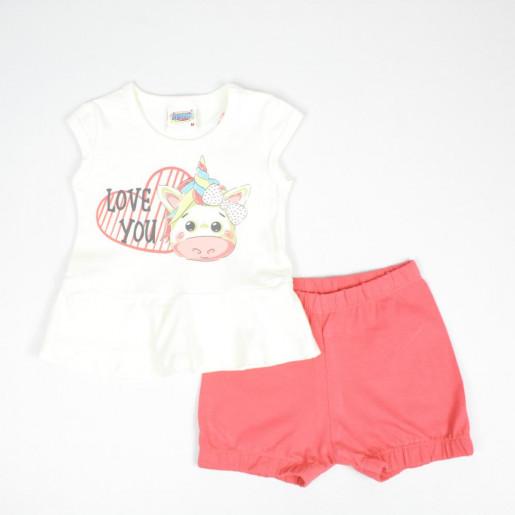 Conjunto Feminino Blusa Estampada Love You e Shorts em Cotton 5510 - Duzizo