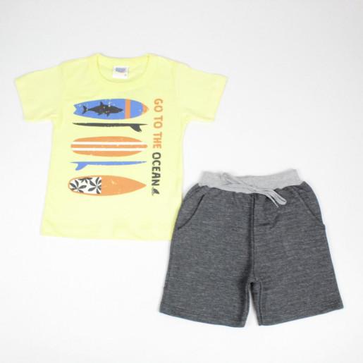 Conjunto Masculino Camiseta Estampada Ocean e Bermuda Moletinho 5550 - Duzizo