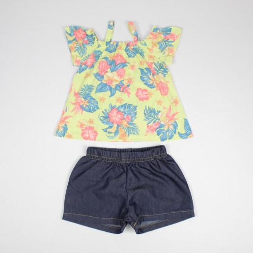 Conjunto Feminino Blusa Ciganinha Estampada Flores e Shorts Jeans 251271 - Elian
