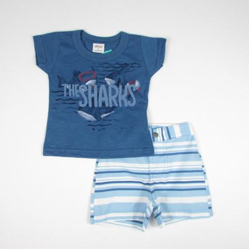 Conjunto Masculino Camiseta  Estampado The Sharks e Bermuda Sarja 20711 - Elian