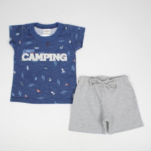 Conjunto Masculino Camiseta com Aplique Bordado Camping e Bermuda Moletinho 20792 - Elian