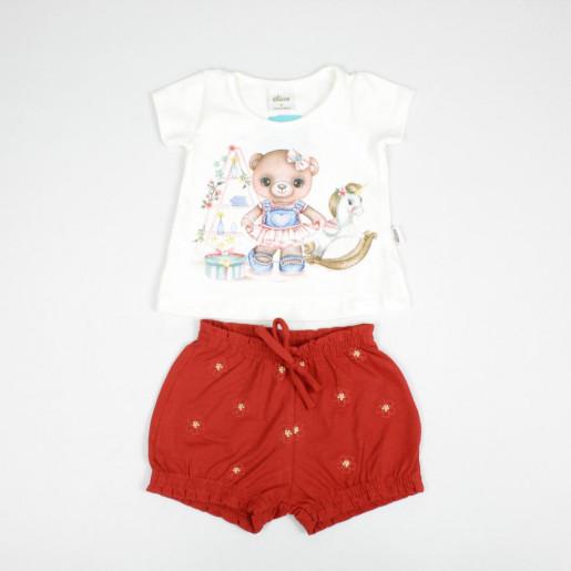 Conjunto Feminino Blusa em Cotton Estampada Ursa e Shorts 21924 - Elian